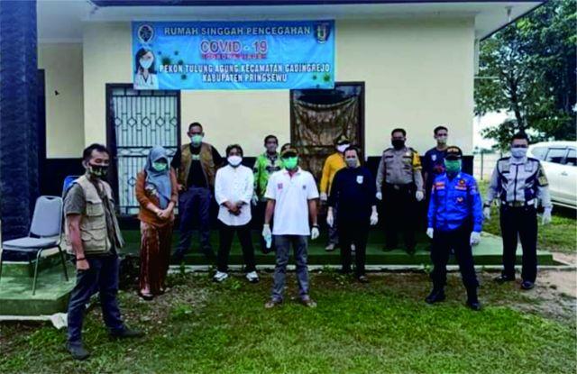 Wabup Pringsewu Tinjau Rumah Singgah Pencegahan Penyebaran Covid-19 di Pekon Tulungagung